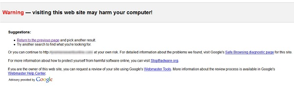 Google Website Hacking Notice