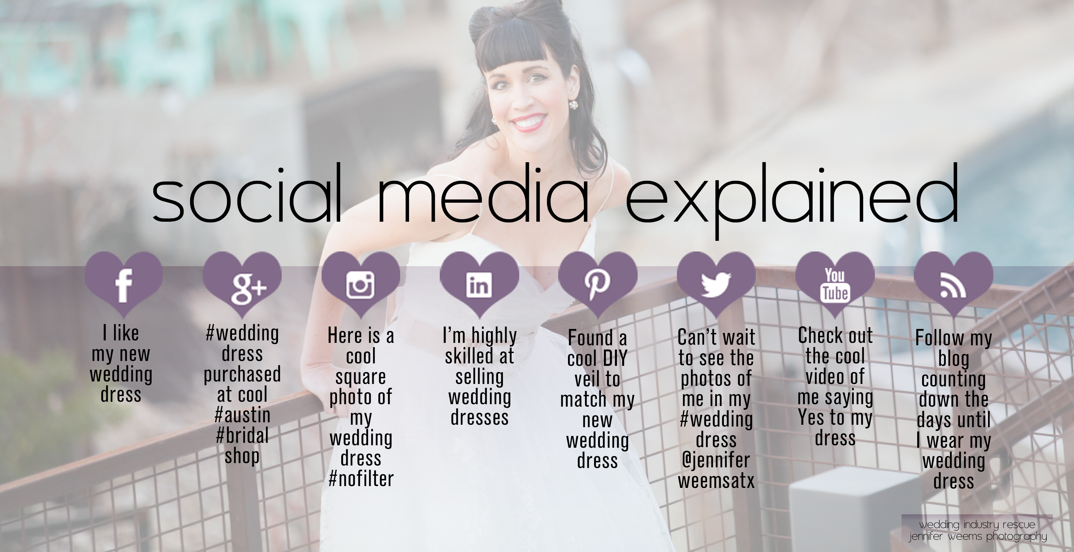 Social Media Explained with Wedding Dresses by Wedding Industry Rescue & Jennifer Weems Photography